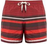 DAN WARD Square and striped-print swim shorts