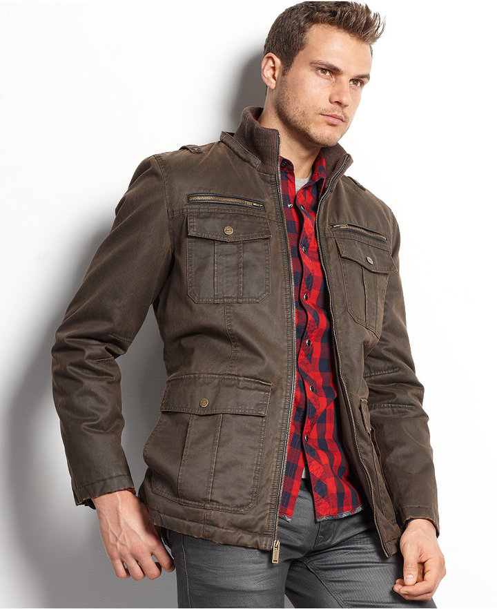 GUESS Coat, Antique-Finish Hooded Jacket