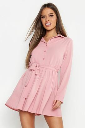 boohoo Petite Smock Shirt Dress