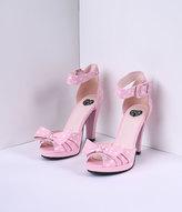 T.U.K. Baby Pink & White Dot & Bow Vegan Starlet Peep Toe Heels