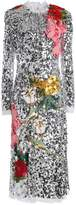 Dolce & Gabbana Appliquéd Sequined Tulle Midi Dress