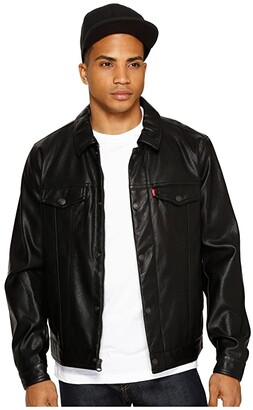 Levi's Laydown Collar Classic Trucker w/ Fly Front Snap Placket Chambray Lining (Black) Men's Coat