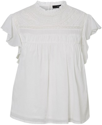 Vero Moda Guipure Lace Mock Neck Blouse with Short Ruffled Sleeves