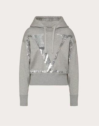 Valentino Embellished Vlogo Jersey Sweatshirt Women Gray/silver Cotton 94% L