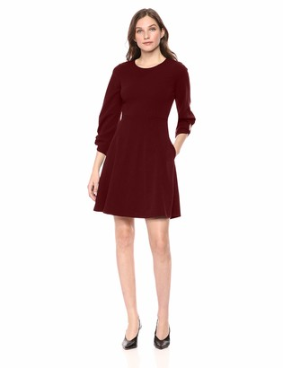 Lark & Ro Women's Gathered 3/4 Sleeve Crew Neck Fit and Flare Dress with Pockets