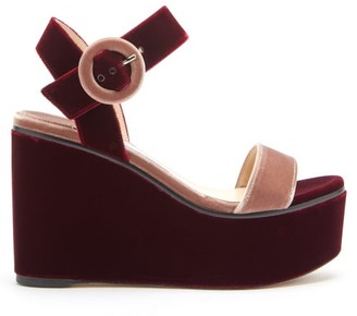 Jimmy Choo Abigail 100 Two-tone Velvet Wedge Platform Sandals - Burgundy Multi