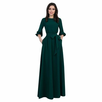 KPILP Maxi Dress Women's Dress Long Sleeve Round Neck Slim fit Long Dresses Ladies Solid Color Party Night Gown Nightclub Dress and Charming(Purple 14 UK/XL CN)