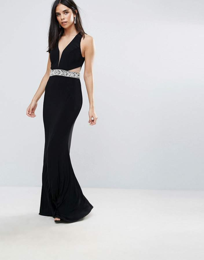 Forever Unique Plunge Maxi Dress With Cutout
