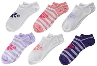 adidas Kids Kids Superlite Badge Of Sport No Show Socks 6-Pack (Little Kid/Big Kid/Adult) (Purple Tint/White/Real Pink/Glory Pink/Tech Purple) Girls Shoes