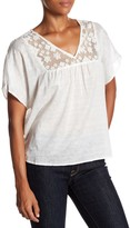 Velvet by Graham & Spencer Kenley Woven Sheer Lace Front Blouse