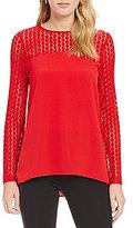 Kensie Long Sleeve Smooth Stretch Crepe Top