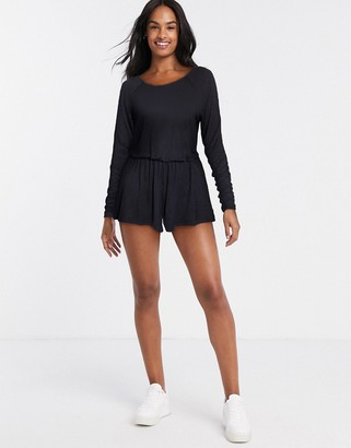 Pour Moi? Pour Moi Sofa Love Long Sleeve Lounge Playsuit in Black