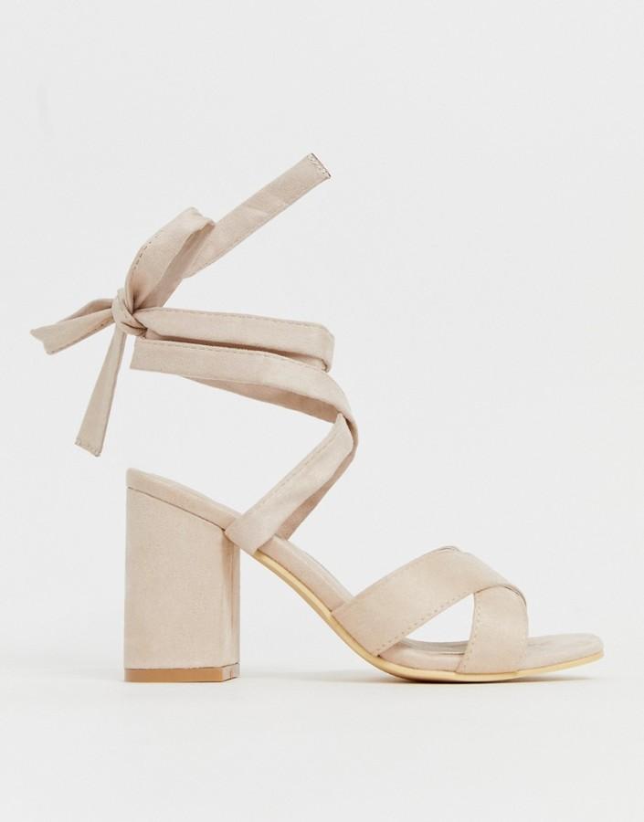Park Lane tie leg block heeled sandals-Beige