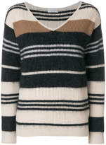 Brunello Cucinelli striped V-neck jumper