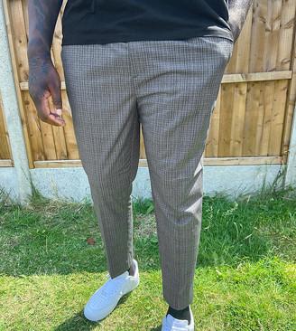 New Look PLUS slm pull on pop check pants in grey