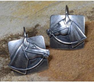 Elaine Coyne Galleries Handmade Mirror Antique Silver Horse Head Earrings