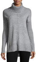 Neiman Marcus Drop-Shoulder Turtleneck Sweater, Light Gray