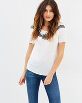 The Kooples T-Shirt with Sequin and Bead Gypsy Embroidery