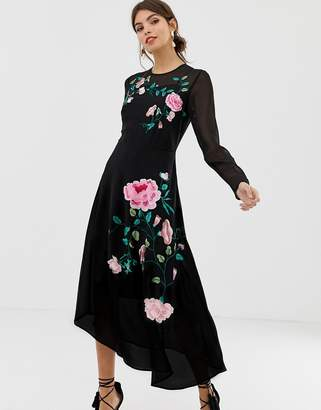 Asos Design DESIGN midi dress with floral embroidery and long sleeves-Black