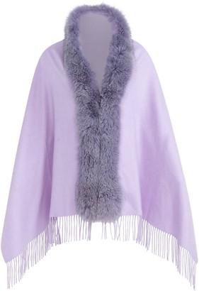 Wolfie Fur Fox Fur Fringe Cashmere Wool Cape