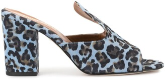 Paris Texas Leopard Print Block Heel Mules