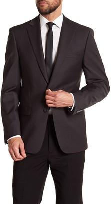 Calvin Klein Solid Gray Wool Suit Suit Separate Jacket