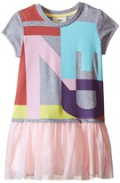Fendi Logo T-Shirt Dress with Tulle Detail Girl's Dress