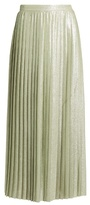 ADAM by Adam Lippes Metallic pleated wraparound maxi skirt