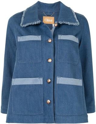 Chloé Button-Up Frayed Denim Jacket