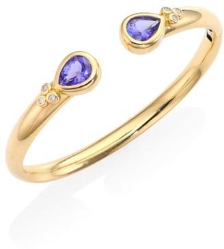 Temple St. Clair Bella Diamond, Tanzanite & 18K Yellow Gold Bangle Bracelet