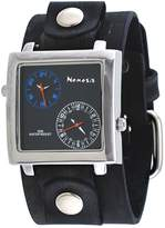 Nemesis #NFBB219L Men's Charcoal Wide Leather Band Dual Time Zone Watch
