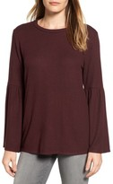 Gibson Petite Women's Bell Sleeve Cozy Fleece Pullover