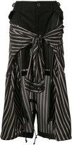 Sacai striped shirt insert skirt - women - Cotton/Leather/Cupro - 1