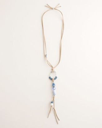Chico's Blue and Silvertone Beaded Pendant Necklace