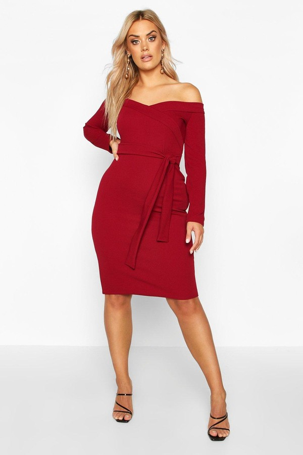 boohoo Plus Bardot Wrap Tie Belt Midi Dress