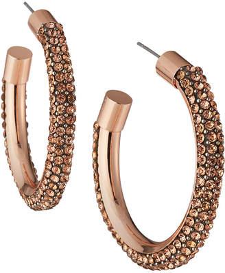 Panacea Crystal Pave Hoop Earrings, Rose