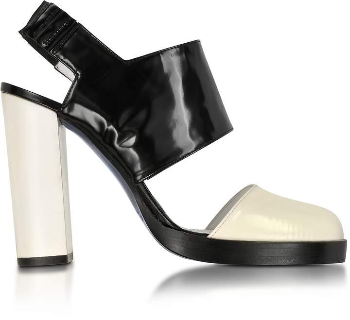 Jil Sander Black and Cream High Heel Slingback