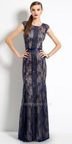 Camille La Vie Beaded Panel Cap Sleeve Lace Evening Dress