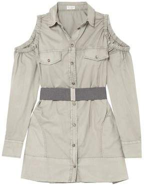 Brunello Cucinelli Safari Belted Cold-shoulder Cotton-poplin Top