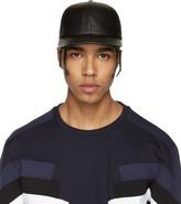 Neil Barrett Black Leather Thunderbolt Cap