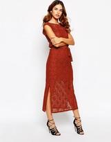 Warehouse 70's Lace Split Side Maxi Dress