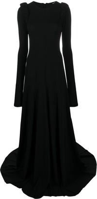 Ann Demeulemeester Padded Shoulder Flared Floor Length Gown