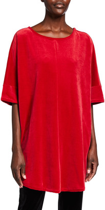 Joan Vass Plus Size Elbow-Sleeve Velour Tunic
