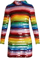 Ashish Rainbow-striped sequin-embellished silk mini dress