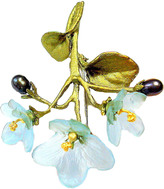 Michael Michaud for Silver Seasons Hand-Cast Bronze African Violet Glass Brooch