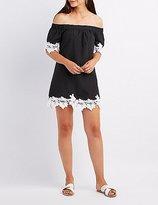 Charlotte Russe Crochet-Trim Off-The-Shoulder Shift Dress
