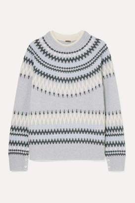 ADAM by Adam Lippes Fair Isle Knitted Sweater - Light gray