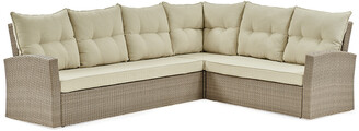 Alaterre Canaan All-Weather Wicker Outdoor Large Corner Sectional Sofa With Cushions