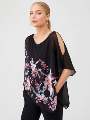 Wallis Magnolia Floral Overlay Top - Black
