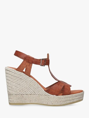 Carvela Kollect Leather Wedge Espadrilles, Tan
